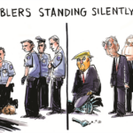 Political Memes Political, McConnell, Trump, George Floyd, Mitch, Lady Liberty text: ENABLERS STANDING SILENTLY BY  Political, McConnell, Trump, George Floyd, Mitch, Lady Liberty
