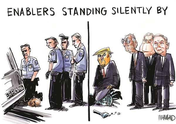 Political, McConnell, Trump, George Floyd, Mitch, Lady Liberty Political Memes Political, McConnell, Trump, George Floyd, Mitch, Lady Liberty text: ENABLERS STANDING SILENTLY BY