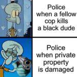 Spongebob Memes Spongebob, Minneapolis text: police when a fellow cop kills a black dude Police when private e property is damaged  Spongebob, Minneapolis