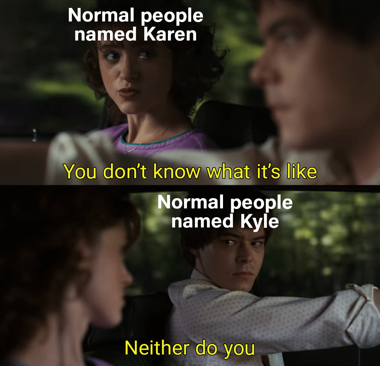 Funny, Karen, Kevin, Chad, DcsCZ, Daniel other memes Funny, Karen, Kevin, Chad, DcsCZ, Daniel text: Normal people named Karen You don't know what it's/like Normal people named Kyle Neither do you