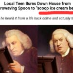 "Dank Memes Hold up, Wheel, Spin, HolUp text: Local Teen Burns Down House from Microwaving Spoon to ""scoop ice cream better"" Says he heard it from a life hack online and actually tried it  Hold up, Wheel, Spin, HolUp"