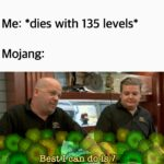 minecraft memes Minecraft, Minecraft, Inventory text: Me: *dies with 135 levels* Mojang: Best I can do iSå7