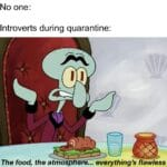 Spongebob Memes Spongebob, No, Netflix, Okay, NOT EVEN WALUIGI, Cake Day text: No one: Introverts during quarantine: The food, the atmo p re... everything