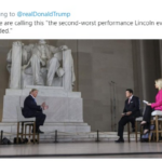 "Political Memes Political, Lincoln, Trump, Our American Cousin, Lincoln Memorial, Abe text: Replying to @realDonaldTrump People are calling this ""the second worst performance Lincoln ever attended.""  Political, Lincoln, Trump, Our American Cousin, Lincoln Memorial, Abe"