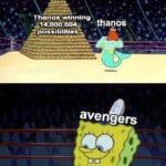 "Avengers Memes Thanos, Strange, Avengers, Tony, Thanos, Iron Man text: Than 0"" winning • thanoS . possiblities.— avengers Avengers Winning 1"