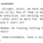 depression memes Depression, YouTube, Reddit, No, MouthWideOpen, Casually Explained text: sumersprkl Me: Alright, brain, we have two tasks to do. One of them is more time sensitive, but working on the other will be more fun. Which should I start on? My brain: Do fucking nothing for 72 hours Me: Understandable, have a nice day  Depression, YouTube, Reddit, No, MouthWideOpen, Casually Explained