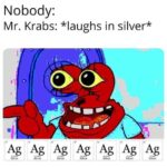 Spongebob Memes Spongebob, USH, SINGLE SOUL, SINGLE SOLITARY SOUL IN THIS ENTIRE WORLD, SENTIENT OR NOT, RABS text: Nobody: Mr. Krabs: *laughs in silver* Ag Ag Ag Ag Ag Silver Ag Silver Ag  Spongebob, USH, SINGLE SOUL, SINGLE SOLITARY SOUL IN THIS ENTIRE WORLD, SENTIENT OR NOT, RABS