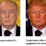 Political Memes Political, Tupperware, Trump, Vendetta, Trumpers, Raymond Reddington text: Tupperware when it