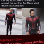 Avengers Memes Thanos,  text: Can we all just take a moment to respect the fact that Ant-Manis stunt double is an amputee. SugarRaisun • 1 Imo Rocket is going to want that leg.  Thanos,