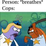 Spongebob Memes Spongebob,  text: Person: *breathes* Cops: cv  Spongebob,