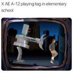 Spongebob Memes Spongebob, Elon, Musk, Kyle, Elon Musk, AE text: X AE A-12 playing tag in elementary school  Spongebob, Elon, Musk, Kyle, Elon Musk, AE