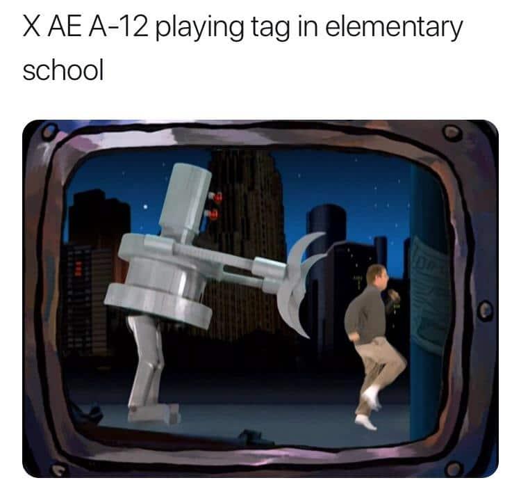 Spongebob, Elon, Musk, Kyle, Elon Musk, AE Spongebob Memes Spongebob, Elon, Musk, Kyle, Elon Musk, AE text: X AE A-12 playing tag in elementary school