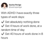 depression memes Depression, DHD, ADD, Person, Ritalin, People text: Sasha Perigo @sashaperigo With ADHD I have exactly three types of work days: •J Get absolutely nothing done v/ Get 4 hours of work done, at a random time of day •J Get 40 hours of work done in 8 hours  Depression, DHD, ADD, Person, Ritalin, People