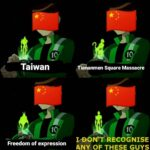 History Memes History, China, Chinese, Ben, HistoryMemes, Tiananmen Square text: Taiwan iananmen Square Massacre VD6MfRECOGNISE Freedom of expression ANY OF THESE GUYS