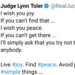 Wholesome Memes Black, Judge text: Judge Lynn Toler e @RealJud... I wish you joy. If you can