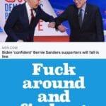 Political Memes Political, Bernie Sanders text: MSN.COM Biden