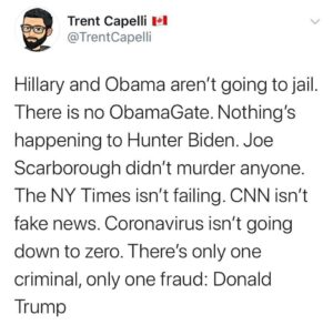 Political Memes Political, Trump, CNN, Obama, Hillary, Fox text: Trent Capelli VI @TrentCapelli Hillary and Obama aren't going to jail. There is no ObamaGate. Nothing's happening to Hunter Biden. Joe Scarborough didn't murder anyone. The NY Times isn't failing. CNN isn't fake news. Coronavirus isn't going down to zero. There's only one criminal, only one fraud: Donald Trump