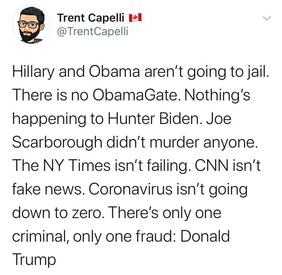 Political, Trump, CNN, Obama, Hillary, Fox Political Memes Political, Trump, CNN, Obama, Hillary, Fox text: Trent Capelli VI @TrentCapelli Hillary and Obama aren't going to jail. There is no ObamaGate. Nothing's happening to Hunter Biden. Joe Scarborough didn't murder anyone. The NY Times isn't failing. CNN isn't fake news. Coronavirus isn't going down to zero. There's only one criminal, only one fraud: Donald Trump