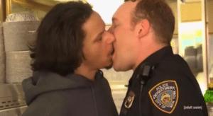 Eric Andre kissing cop NSFW meme template