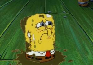 Sad Spongebob after he was thrown in the garbage Sad meme template