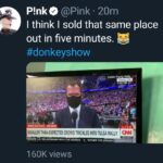 """Political Memes Political, Trump, Ticket Master, RSVP, RNC, Christian text: P!nkO @Pink • 20m I think I sold that same place out in five minutes. #donkeyshow Trum Ral BREAKING NEWS SMALLER.THAN.EXPECTED CROWD TRICKLES INTO TULSA RALLY US RELATIONS"""""""