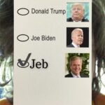 Political Memes Political, Jeb text: 2020 ELECTION VOTER BALLOT O Donald Trump O Joe Biden Jeb Register at vote.gov  Political, Jeb