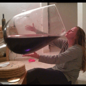 Girl drinking from giant wine class Food meme template
