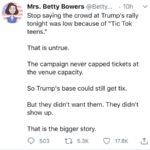 Political Memes Political, Trump, Tulsa, Republicans, Democrat text: Mrs. Betty Bowers @Betty... 10h v Stop saying the crowd at Trump