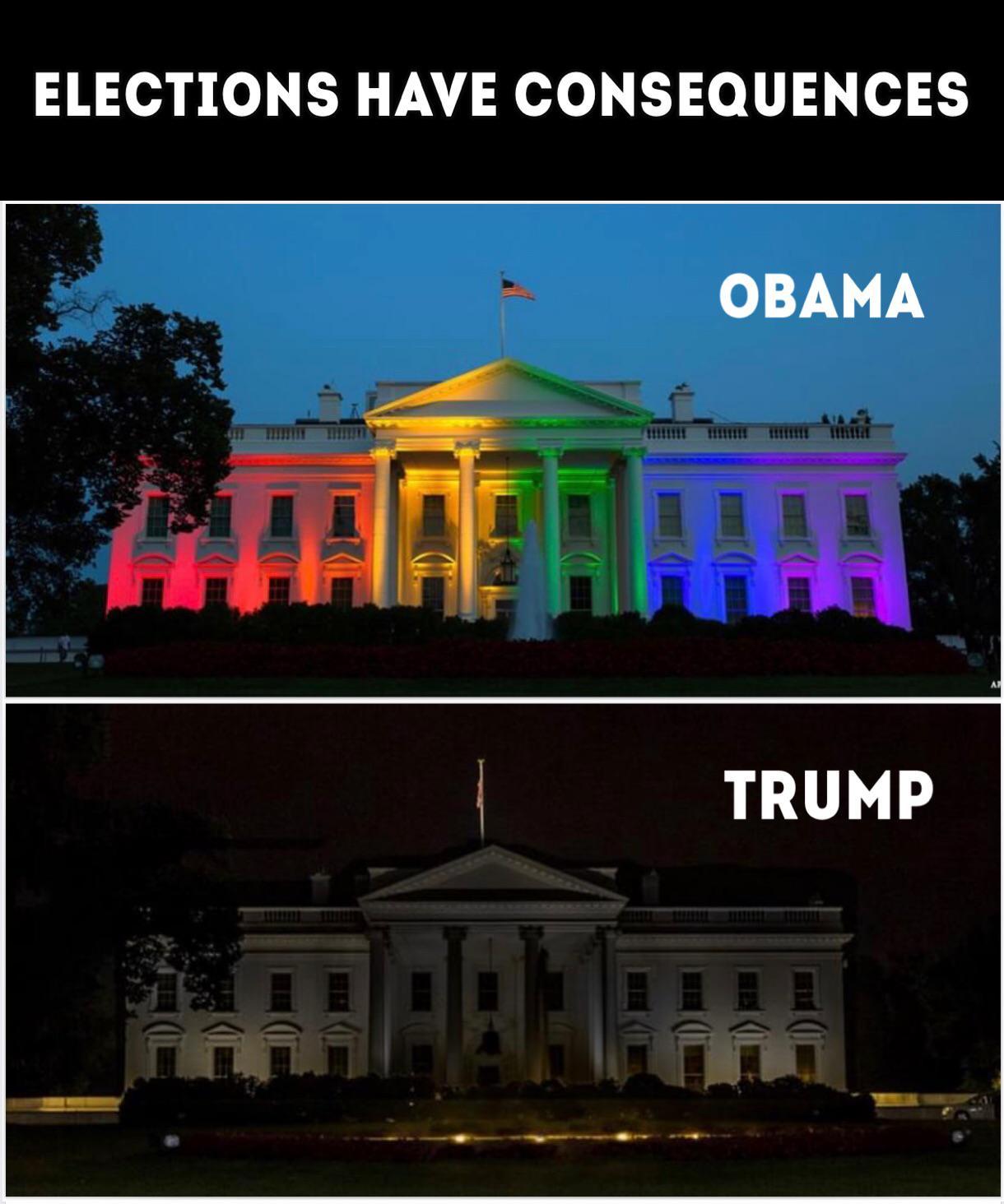 Political, Obama, White House, President, Biden, America Political Memes Political, Obama, White House, President, Biden, America text: ELECTIONS HAVE CONSEQUENCES OBAMA TRUMP