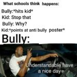 other memes Funny, Bully, Kid, Teacher, School, Quiet text: What schools think happens: Bully:*hits kid* Kid: Stop that Bully: Why? Kid:*points at anti bully poster* derstaÆa119