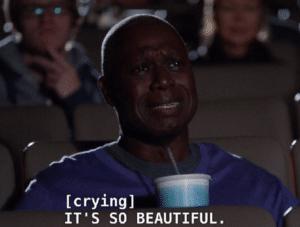 Holt crying 'Its so beautiful' Sad meme template