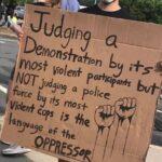 Political Memes Political, Exactly, BLM text: IJd9jn9—æ— Demons+ra+ion by Violen+ par*iCiparås but NOT Judging a police force by ifs mos+ Violent cops i