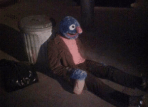 Grover sitting by trash Opinion meme template