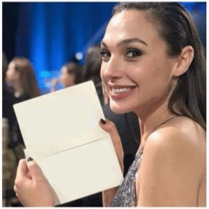 Gal Gadot holding paper Holding Sign meme template
