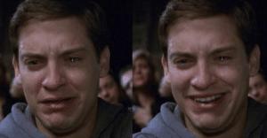 Peter Parker sad then happy Sad meme template