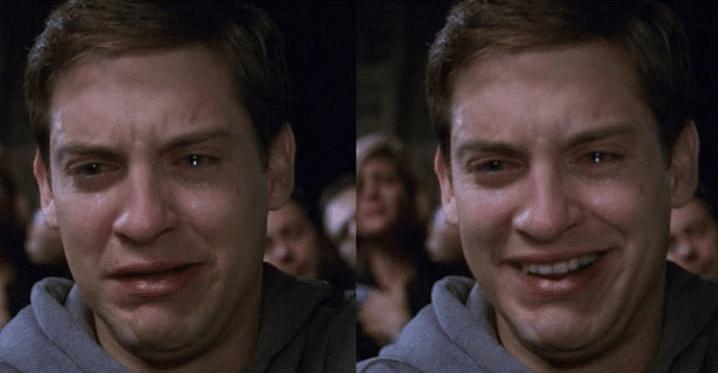 Meme Generator - Peter Parker sad then happy - Newfa Stuff