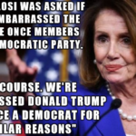 "Political Memes Political, Pelosi, KKK, Democrat, Trump, Republican text: PELOSI WAS ASKED/"" ,SHE IS EMBARRASSED KKK WERE ONCE MEMBERS"