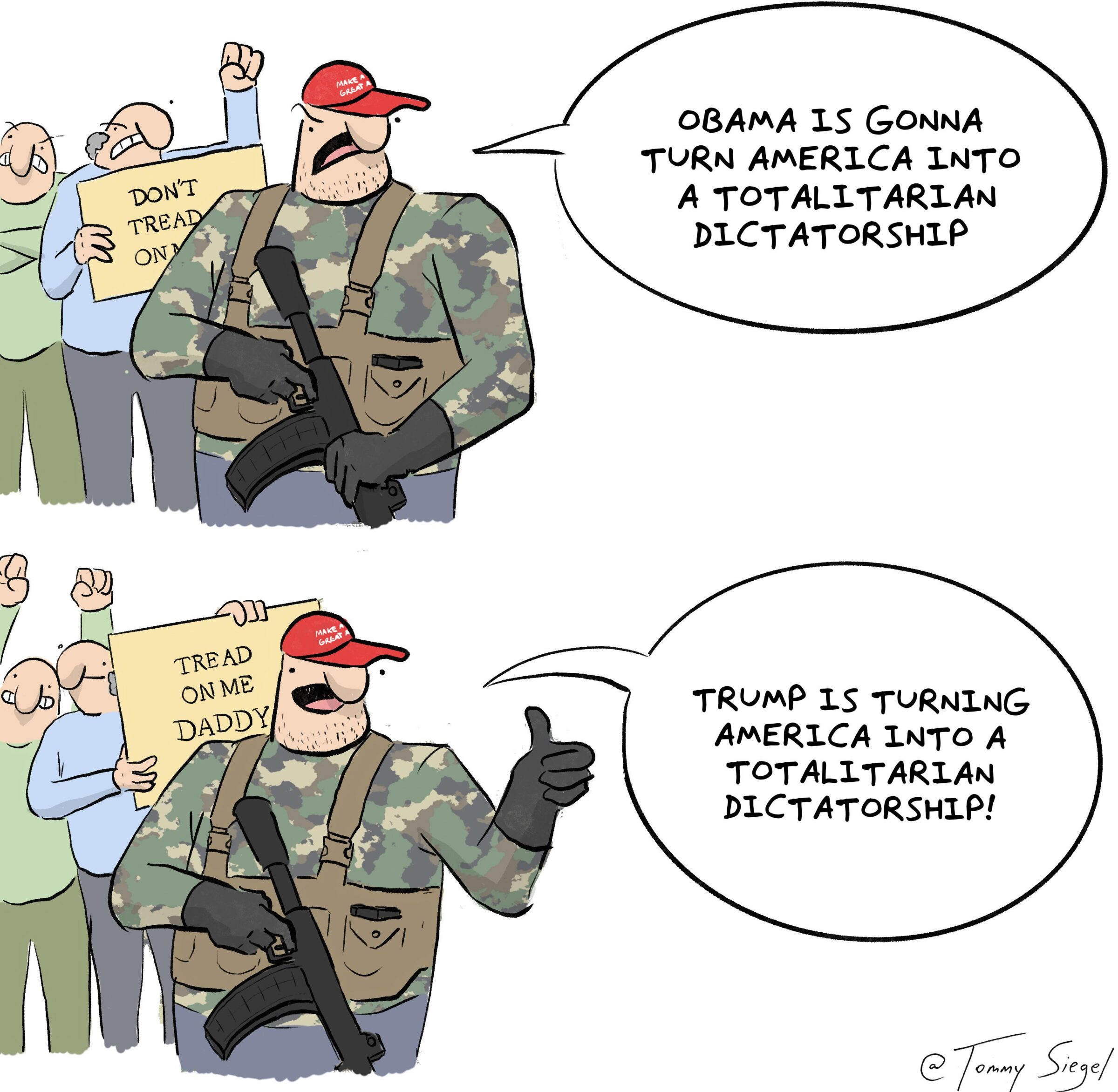 Funny how that works (from tommysiegel), Trump, Republicans, Obama, MallaPip, Covid Comics Funny how that works (from tommysiegel), Trump, Republicans, Obama, MallaPip, Covid text: DADDY OBAMA GONNA TURN AMERICA INTO A TOTALITARIAN DICTATORSHIP TRUMP TURNING AMERICA INTO A TOTALITARIAN DICTATORSHIP!