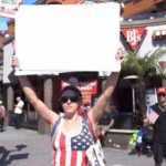 American woman holding sign Holding Sign meme template blank  Holding Sign, American, Woman, Opinion, Political