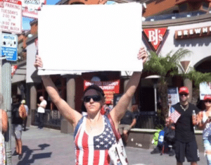 American woman holding sign Holding Sign meme template
