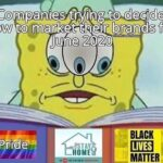Spongebob Memes Spongebob, Visit, Negative, Hong Kong, Feedback, False Negative text: Companies ft-@g to decide how to market their brands for June 2020 TAY , BLACK LIVES MATTER  Spongebob, Visit, Negative, Hong Kong, Feedback, False Negative