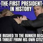Political Memes Political, Trump, Senate, President, White House, Dems text: FIRST P IN HISTORY TO BE RUSHED TO THE BUNKER BECAUSE OF A THREAT FROM HIS OWN CITIZENS  Political, Trump, Senate, President, White House, Dems