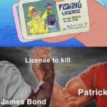 Spongebob Memes Spongebob, Patrick, Mr, James Bond text: puoa yopıed 01 asüaon Lüej  Spongebob, Patrick, Mr, James Bond