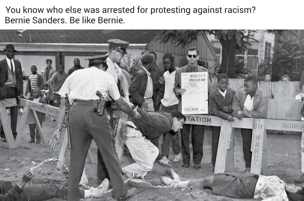 Political, Biden, PresidentialRaceMemes, George Floyd Political Memes Political, Biden, PresidentialRaceMemes, George Floyd text: You know who else was arrested for protesting against racism? Bernie Sanders. Be like Bernie.