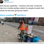 Wholesome Memes Black, New Ways, Help Out Protestors text: Rami @RAMIMWAMBA Took this pic yesterday - Inventive, this man turned his bike into a mobile sanitary station for people to wash their hands, he was also giving out masks. #BlackLivesMatter #MCRBLM  Black, New Ways, Help Out Protestors