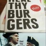 other memes Funny, Heal Thy Burgers, Heal, TBG EHUE AYRR, Thy Burgers, Heal Thy Bur Gers text: