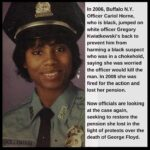 Political Memes Political, Holloman, Officer Cariol Horne, America text: In 2006, Buffalo N.Y. Officer Cariol Horne, who is black, jumped on white officer Gregory Kwiatkowski
