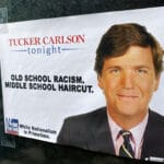 Political Memes Political, Tucker Carlson, Tucker, Racist, POC, Republicans text: TUCKER CARLSON —tonight— OLD SCHOOL RACISM. MIDDLE SCHOOL HAIRCUT. White Nationalism in Primetime.  Political, Tucker Carlson, Tucker, Racist, POC, Republicans