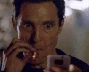 Man smoking and looking at phone Hey meme template