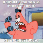 Spongebob Memes Spongebob, Android text: ٢ phone an iPhone or an